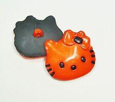 (2.80 EUR/Stück) Kinderknopf Hello Kitty orange 28mm