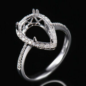 Pear cut 13.5x9mm Ring Setting Natural Diamond Solid 14K White Gold Ring size 10
