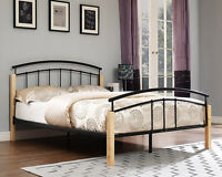 Metal Bed Frame Double Single and King Size with Foam Mattress 3FT 4FT6 5FT Wood