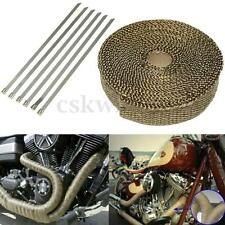 "TITANIUM GOLDEN EXHAUST PIPE HEAT WRAP 1""INCH MOTORCYCLE HEADER INSULATION 7.5M"