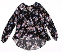 Free People Black Floral Button Down Long Sleeve Tunic Shirt Top Size XS