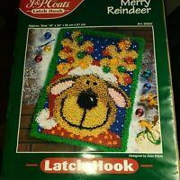 "Vintage 1998 J & P Coats Latch Hook Kit ""Merry Reindeer"" #25523 New!"