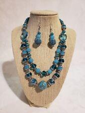 Beautiful Handmade Aqua,Blue Silver Beaded Necklace & Earrings Set