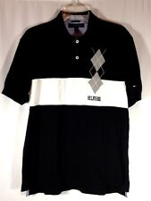 Tommy Hilfiger Mens Argyle Accent Embroidered Black White Golf Polo Shirt Large
