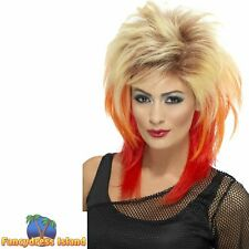 80's Disco Mullet Wig Blonde Red Streaks Adult Women's Fancy Dress Costume