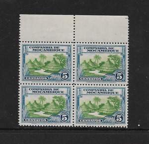 1937 Mozambique Company - Thatched Huts - Block of Four - Mint Never Hinged.