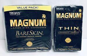 Trojan MAGNUM Bare Skin Thinnest Condoms 24ct Latex+Thin 12ct Condom Exp 2024-26