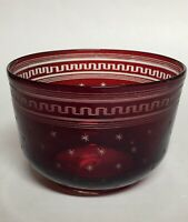 Red Cut to Clear Glass Star Bowl Candy Dish 4.5""