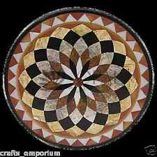 "36"" Black Marble Top Dining Table Mosaic Inlay Marquetry Home Decorative Gifts"