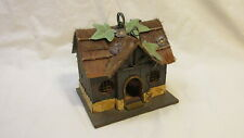Country Cottage Wood Birdhouse w/ Thatch Roof & Decorative Metal Leaves