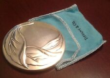 Vintage Tiffany & Co. Silver Plated Purse RaisedLeaf Mirror Retired,Gift for Her
