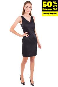 STEFANEL Pencil Dress Size 40 / S Black Textured Sleeveless V Neck