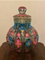 """Vintage Italian Handpainted Glass Cookie Biscuit Jar w/ Lid - Italy - 14"""""""