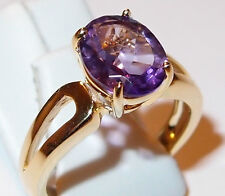 Oval Amethyst solitaire (2.25ct) in gold overlay Sterling Silver, Size O.