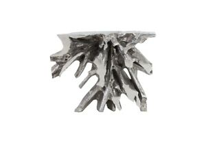"""42"""" Long Console Table Luxe Freeform Silver Leaf Finish Resin Caste"""