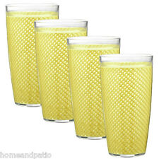 Kraftware Yellow Fishnet Double Wall Insulated 24 oz Acrylic Tumblers