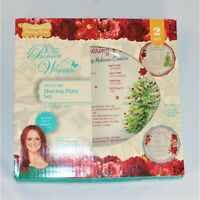 Pioneer Woman Holiday Edition 2 Piece Sharing Plate Set, Cheerful Rose