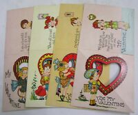 Vintage Valentine Card LOT Four 1930s Novelty Cards to Fold Colorful Boys Girls