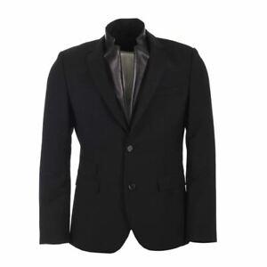 NEIL BARRETT Jacket Black Wool Blend With Leather Neckline Slim Fit Size 50