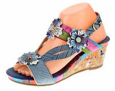Laura Vita Damen Keil Pantolette Sandale Leder BEGLES 09 Jeans mehrfarbig 38 39