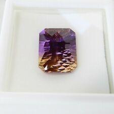 8.95ct 16x12mm EC Emerald Cut Yellow Purple Ametrine