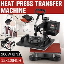 8 In 1 Heat Press Machine Swing Away Digital Sublimation T Shirt Mug Plate Hat