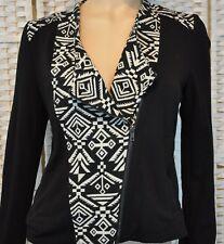 Velvet Thorn Black White Southwestern Jacket Lined Zippered Pockets Size Large