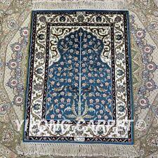 1.5'x2' Small Orient Blue Area Rugs Handmade Bedroom Classic Silk Carpets 062B