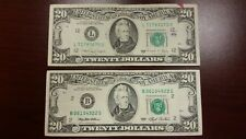 Lot of 2 Two Old $20 US Notes Bills (1988A - 1993) $40.00 Face Value