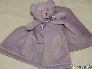BLANKETS & AND BEYOND purple bear blanket lovey satin bow tie