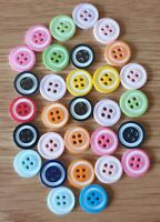 Job Lot 30pcs Assorted Two Coloured Resin Buttons Size 12mm