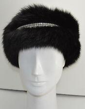 Black Fox Fur Headband with Rhinestones New (made in the U.S.A.)