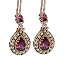 E263 Genuine 9K Solid Rose Gold Natural Rhodolite Garnet & Pearl Drop Earring