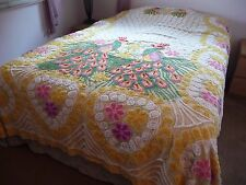 LOVELY VINTAGE YELLOW CHENILLE DOUBLE PEACOCK FULL SIZE BEDSPREAD