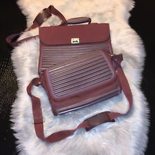 Lot Of Two Mandarina Duck Tank Briefcase & Matching Small Carry On Bags Burgendy