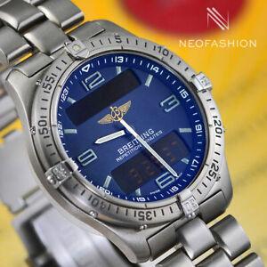 BREITLING AEROSPACE TITANIUM QUARTZ 40MM BEAUTIFUL BLUE DIAL MENS WATCH E65062