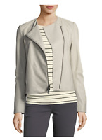 NWT $995 VINCE Zip-Front Lamb Leather Jacket Size XS