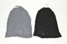 BNWT Grey Black Chunky Knit Knitted Unisex Adults Winter Slouch Beanie Hat (A44)