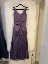Davids Bridal Long Stretch Satin Lavender Dress