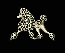 Poodle Running Dog Brooch or Pin -Fashion Jewellery Gold Plated, Stud Back