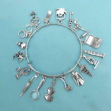 Inspiration of Sherlock Holmes: Detective Show related Charms Bangle Bracelet.