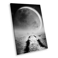 SC786 Black White Portrait Canvas Picture Print Large Wall Art Moon Stars