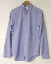 CALVIN KLEIN Mens Blue & White Plaid Slim Fit Dress Shirt Size 15.5 34/35