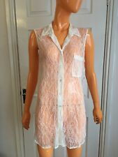 Equipment Femme Natural White Lace Sleeveless Sheer Long Shirt Size M UK8-10 NWT