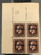 Samoa 1917 Plate 18 Block U/M