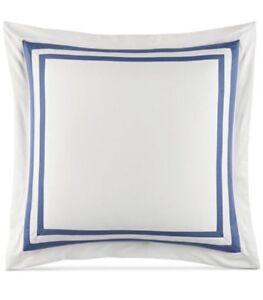 Tommy Hilfiger Collection Border White / Blue Euro Sham New