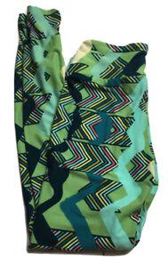 Women's Lularoe One Size OS Leggings Green Geometric Chevron High Waisted Soft