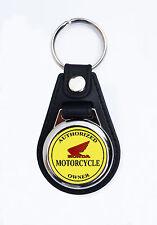 HONDA,AUTHORIZED HONDA MOTORCYCLE OWNER FAUX LEATHER KEY RING / KEY FOB..