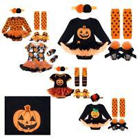 Newborn Infant Baby Girl Halloween Pumpkin Outfits Romper Tutu Dress Skirt Cloth