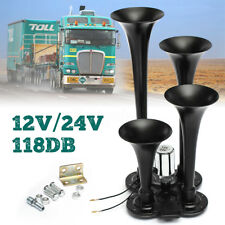 4 Trumpet Quad Air Horn 150DB Car Truck Train Compact LOUD Black Metal 12V 24V